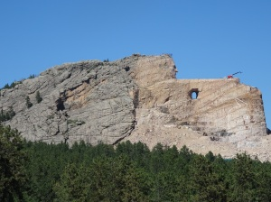 Crazy Horse Monument, with the horse's head outlined on the mountain